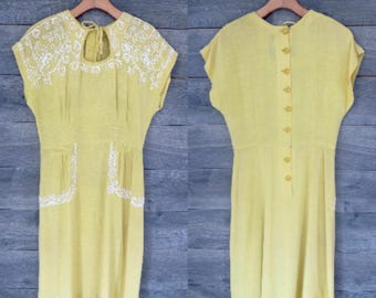 0234 Yellow Embroidered  40's / 50's Dress