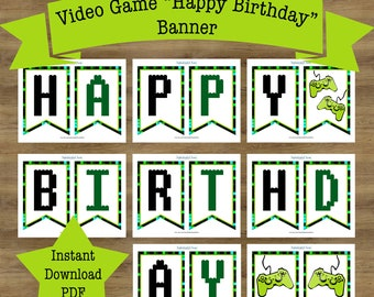 Gamer Birthday Banner; Video Game Birthday Banner; Video Game Banner; Video Game Birthday Party; Video Game Party Decorations