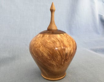 Small Maple Hollowform with finial (#131)