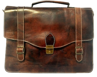 Handmade Genuine Full Grain Leather Laptop Messenger Bag Satchel Briefcase - The Caulfield