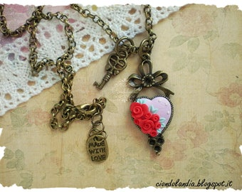 Polymer clay cammeo -vintage roses necklace-