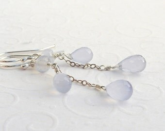 Blue chalcedony earrings, 925 sterling silver, undyed gemstone earrings, faceted drops, sky blue