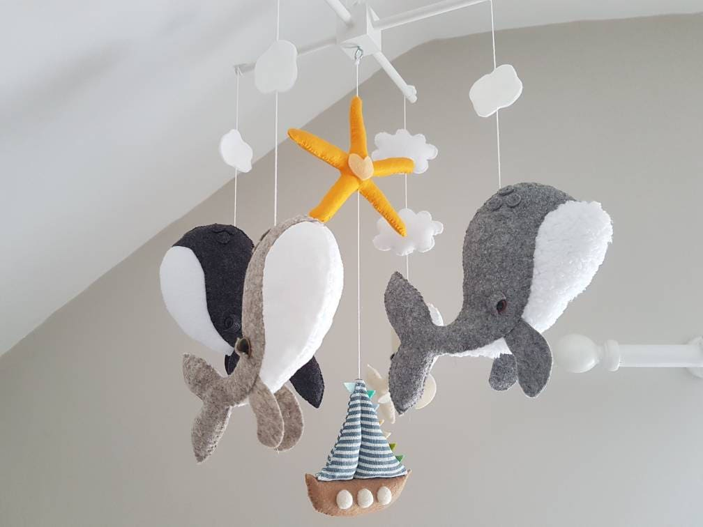 Whale family baby mobile ocean animals mobile sea for Sea animal baby mobile