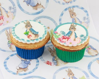 Peter Rabbit edible Cake Toppers, 12 fondant cake decorations or party favour treats