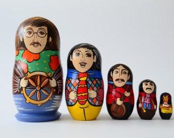 Hand Painted Russian Nesting Doll Matryoshka The Beatles, Yellow Submarine,  Made In Russia