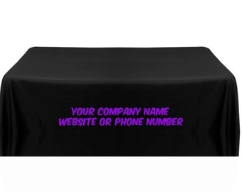 Custom Printed Black Table Cover With Purple Lettering