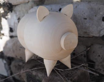 Wood piggy bank toy money box thrift-box animal farm oink pig swine coin piggy-wiggy piggie blank basswood  decoupage woodworking