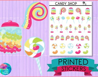 Candy Shop Stickers [PRINTED STICKERS], planner stickers, erin condren, happy planner, candy, lollipop, jelly bean, candies