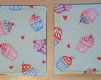 "Pair of Fabric ""Cupcake"" Themed Coasters"