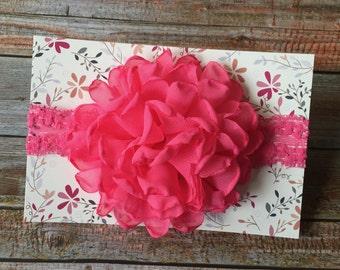 Baby Headband/Hot Pink Baby Headband/Hot Pink Headband/Pink Baby Headband/Pink Headband/Flower Headband/Infant Headband/Newborn Headband