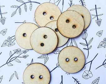 10x BUTTON WOOD CUTOUT - Laser Cut Buttons Natural Wood Shape 25mm