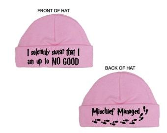 HARRY POTTER   -  New Pink/Blue 'I Solemnly Swear/Mischief Managed' HAT, Newborn Gift, Baby Shower, Christening Present, Size Newborn & 0-3M