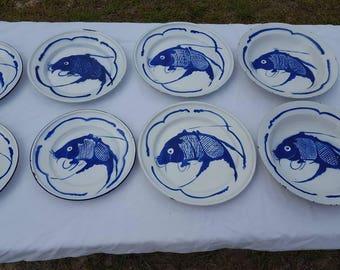 8 Vintage Nautical Enamelware Goldfish Brand Cobalt Blue & White Carp Dishes