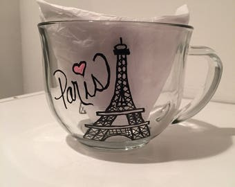 Hand Painted Clear Glass Coffee or Tea Mug, Paris, Eiffel Tower, Gifts