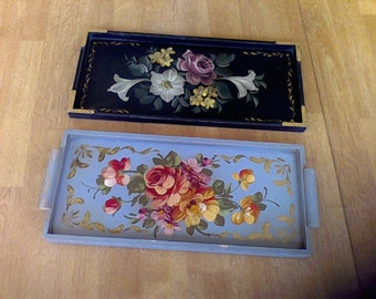Two Wooden Serving trays, hand painted, vintage,one gray, one black,Roses, Decorative trays