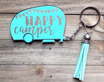 """3"""" Happy Camper Keychain With Tassel {choose your own colors}"""