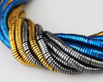 Hematite Coin Disc Shape Gemstone Loose Beads Size 1x4mm 15.5'' Long Per Strand Blue/Gray/Gold I-HEM-0360