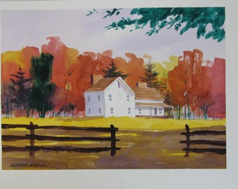 Autumn farmhouse painting, original watercolor, Fall artwork, #118