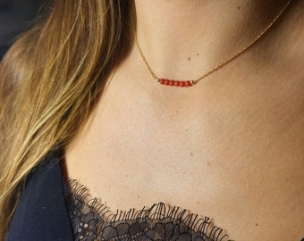 Coral necklace * and fine chain