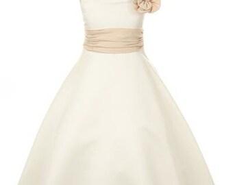 Ivory Champagne Rosette Dress for girls, Toddler Dress, Ivory Dress, Champange Dress, Flower girl dress, Satin Dress, Wedding Dress,