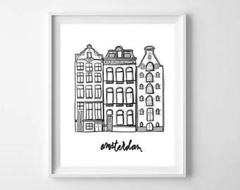 Amsterdam Houses Printable - Amsterdam Print - Black and White Print - Dutch Houses Print - Dutch Houses Illustration - Amsterdam Printable