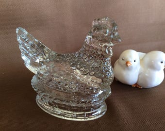 Antique vintage Jeannette glass hen on nest candy container Depression glass figurine