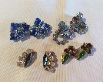 Vintage lot Austria Triad rhinestone crystals clip on earrings beautiful items