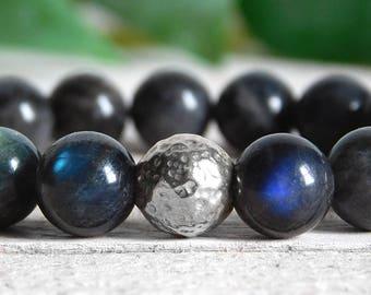 Labradorite and Sterling Silver Bracelet / Genuine Labradorite Grade AA / Stretch Meditation Bracelet / Yoga Bracelet / 10mm OR 8mm