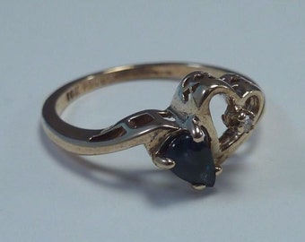 10K Yellow Gold Sapphire and Diamond Ring, 1.7 grams, size 5.75