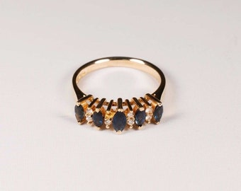 14K Yellow Gold Sapphire and Diamond Ring, 3.2 grams, size 6.5