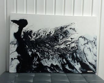 Black and white abstract painting and epoxy, title: Peacock