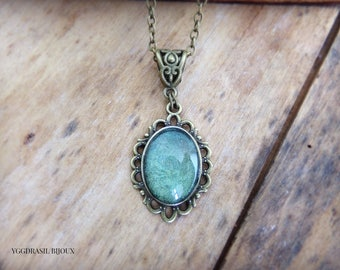 Necklace / pendant bronze and blue-green glass cabochon. Bohemia, medieval, romantic, Gothic.