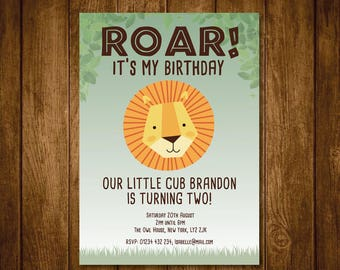 Personalised Lion Safari animals invite - SELF EDITABLE PDF -5 x 7 inch Customisable Lion Printable Birthday Party Invite - Instant Download