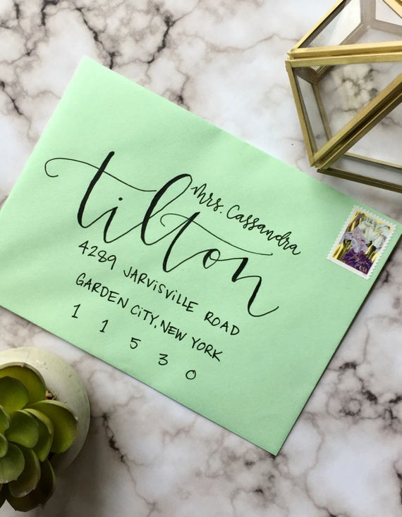 "Envelope Calligraphy for Wedding Invitations ""Asheville"" Style, Black Ink"