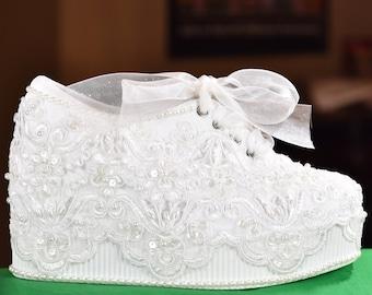 Wedding Shoes Light Ivory Or White Platform Wedge High Heel Sneakers Tennis Marilyn