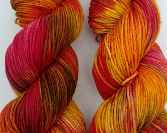Ring of Fire- Hand dyed yarn, DK weight, Superwash Merino, Nylon, 245 yards
