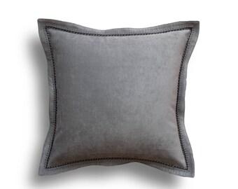 Gray Throw Pillow Cover - Grey Pillow -Gray Throw Pillows - Velvet Pillow Cover - Flange Pillow -Silver Pillows - Velvet Throw Pillow Cover