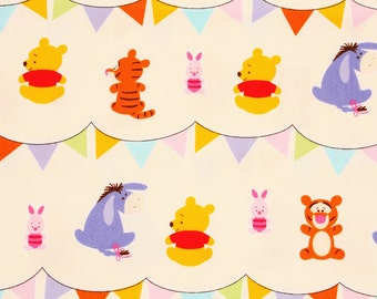 "Disney Fabric, Winnie the Pooh Oxford Fabric made in Japan, Tigger, Piglet Eyeore Fabric FQ 45cm by 53cm or 18"" by 21"""