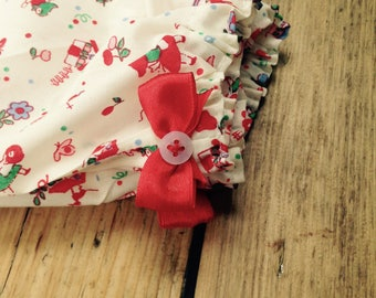 Handmade, baby girl harem trousers, fairytale print, headband, red bow and button detail