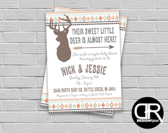 """CUSTOMIZABLE Baby Shower """"Oh Deer"""" rustic theme invitation. Fully Customizable! Digital download only. See matching accessories in my shop!"""