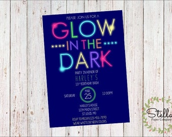 Glow in the Dark Birthday Party Invitation (Digital Download)