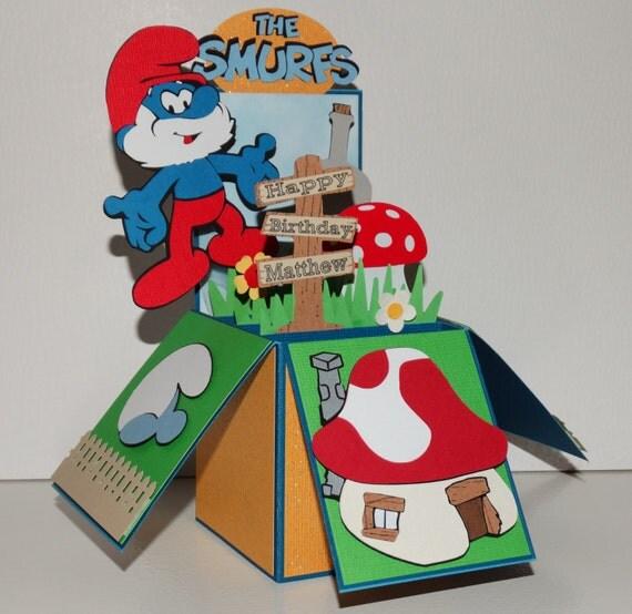 Papa Smurf Happy Birthday 3D handmade pop up greeting card – Happy Birthday Card 3d