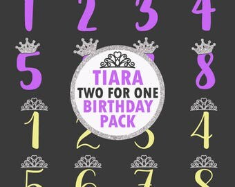 Tiara Crown Birthday Numbers SVG DXF EPS Silhouette Cameo Cricut Cut File