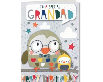 Cut-Out Cuties - To a Special Grandad - Happy Birthday - Birthday Card - Birthday Greeting Card - Cute - Owl - CO37