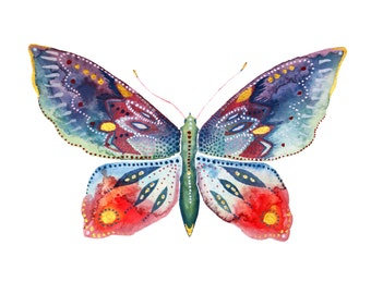 Red Butterfly Print - Watercolour Painting