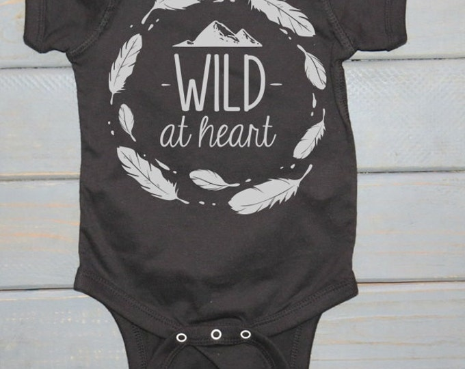 Wild Bodysuit, Tribal Baby, Unisex Kids' Clothing, Wild at Heart, Baby Shower Gift