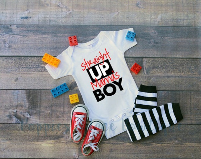 Mama's Boy Bodysuit, Boys' Tops and Tees, Hipster Baby Clothes, Baby Shower Gift, Straight Up Mama's Boy