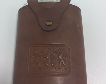 Vintage Glass Flask With Leather Cover Made in USA