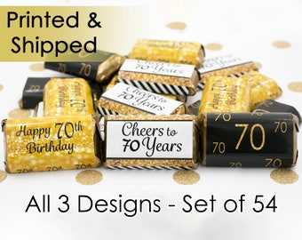 70th Birthday Party Decorations - Gold & Black - Stickers for Hershey's Miniature Bars (Set of 54)