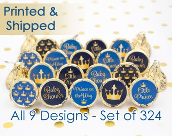 Little Prince Baby Shower Favors - Royal Crown Baby Shower Party Favors - Boy Baby Shower Favors - Gold and Blue - 324 Stickers